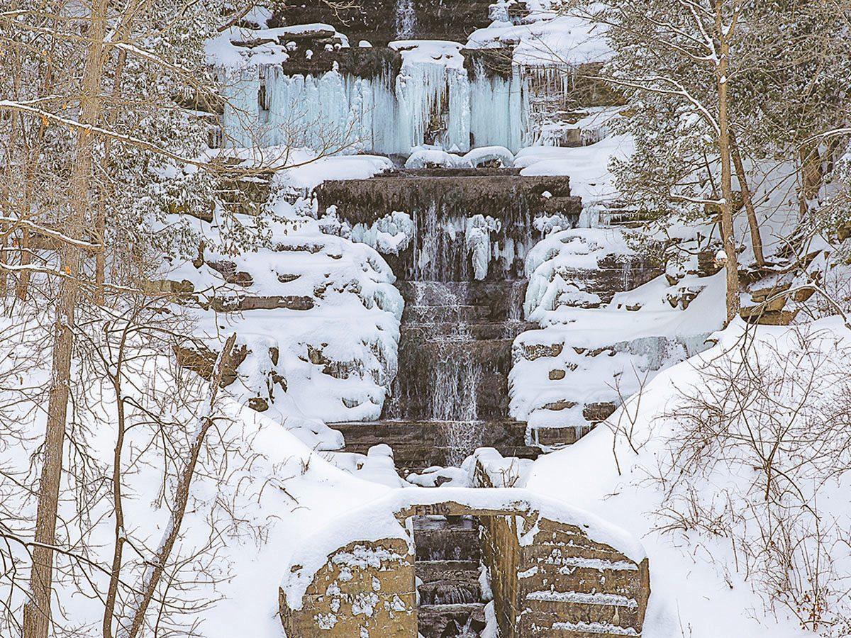 Winter in Ottawa - Princess Louise Falls in Orleans, Ontario