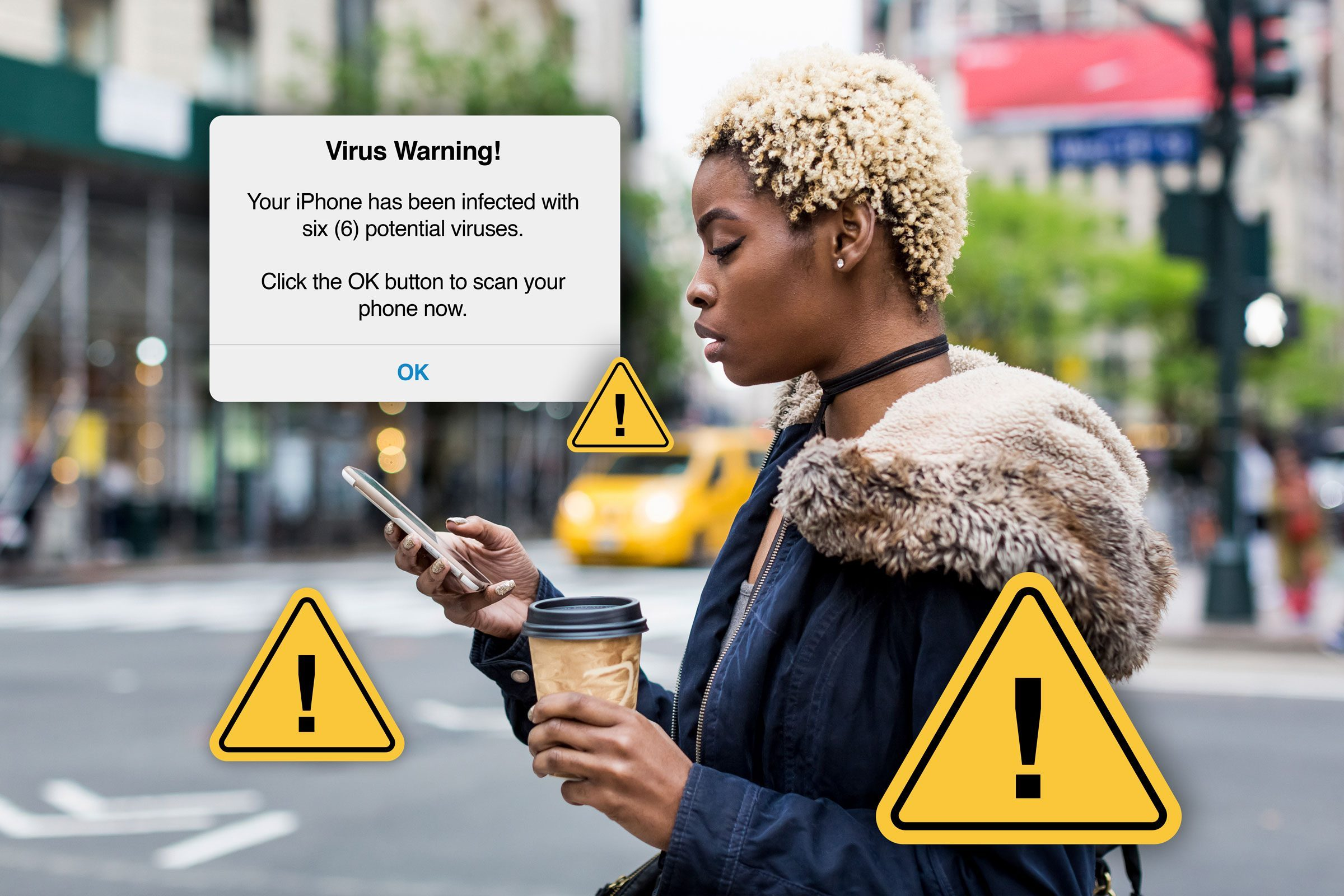 Woman on Smartphone receiving a scam alert that her phone might have a virus