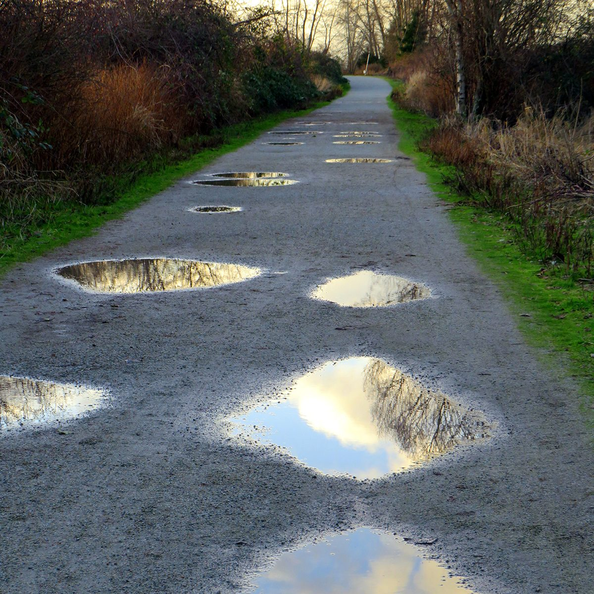 My Happy Place - lane filled with puddles