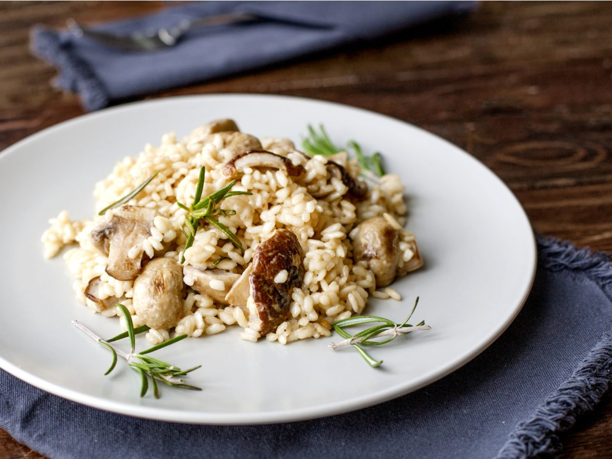 Burping signs - Mushroom risotto with rosemary sprigs