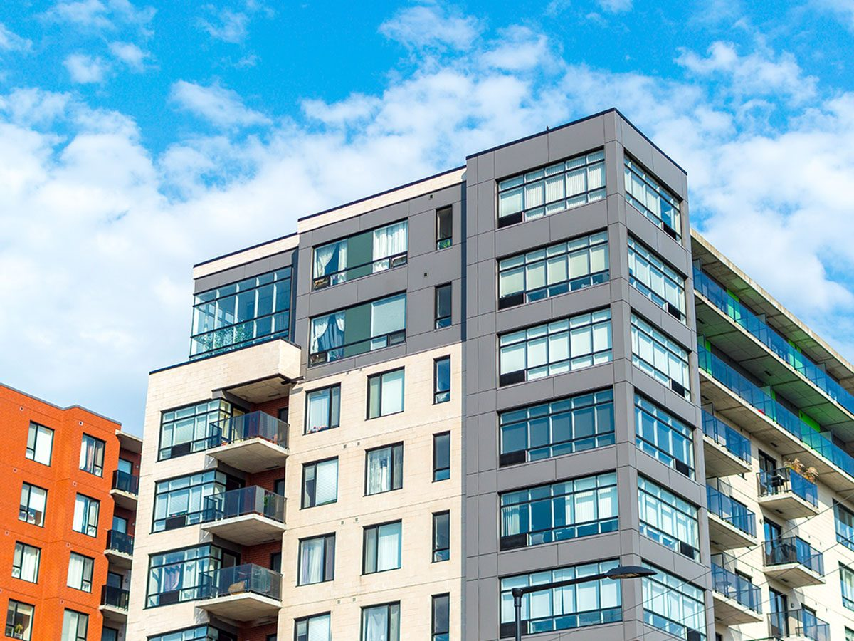 Modern condo buildings with huge windows in Montreal.