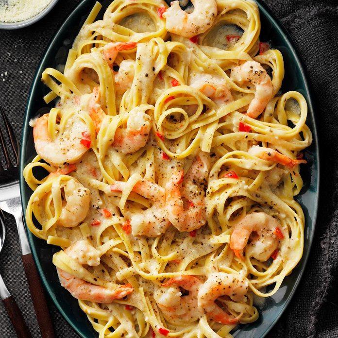 Spicy Shrimp Fettuccine Alfredo recipe