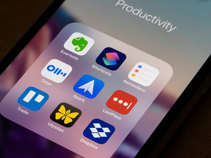 Assorted productivity apps are seen on an iPhone