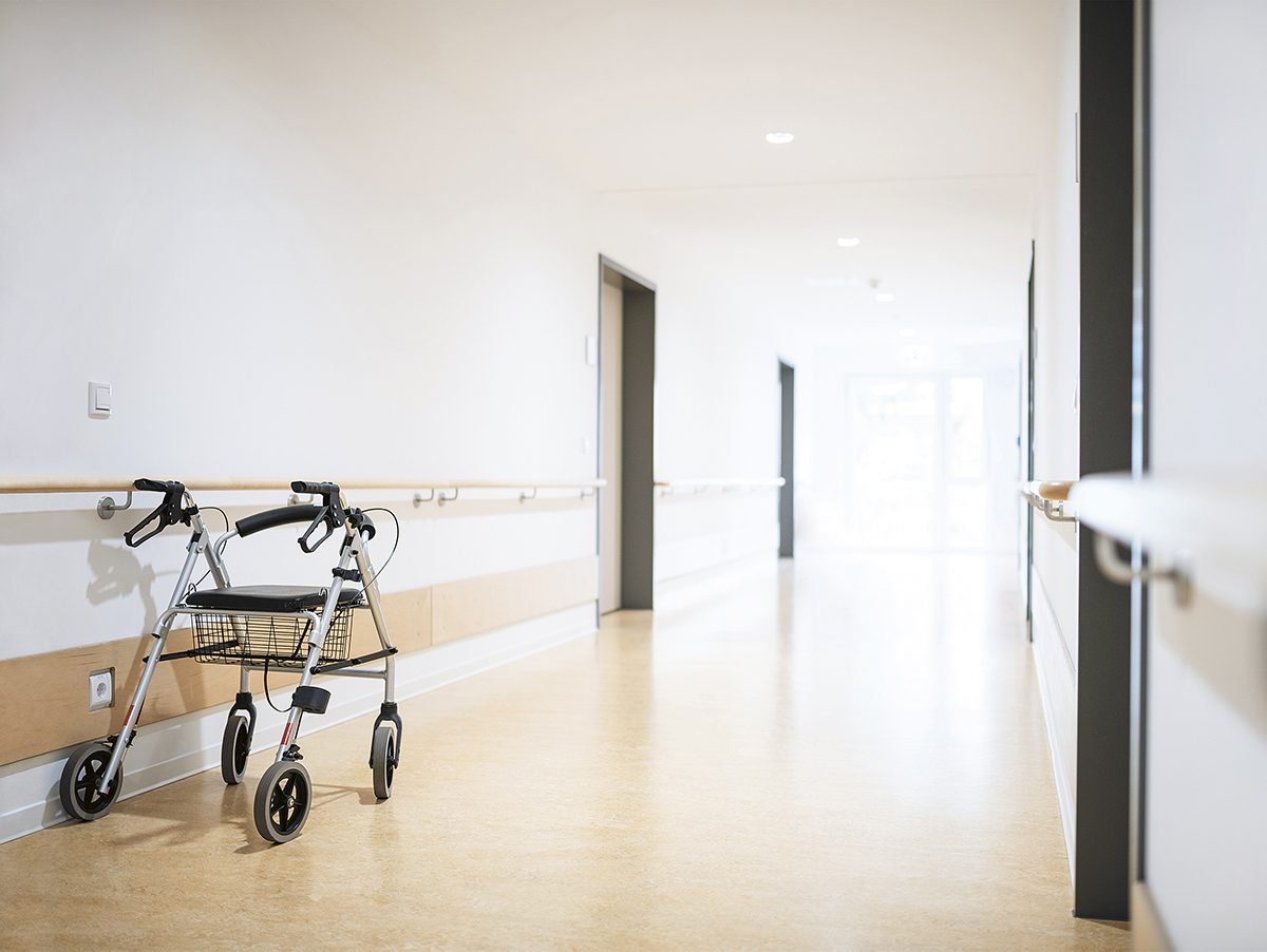 Empty hallway of hospital or care home
