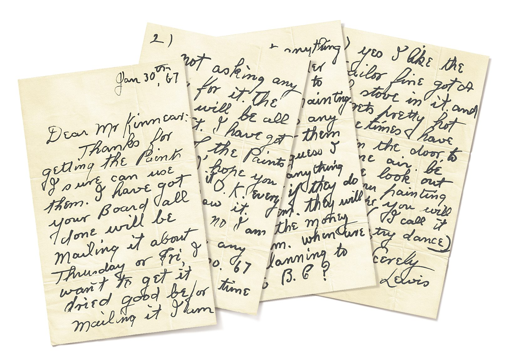 One of the many letters Lewis wrote to John H. Kinnear