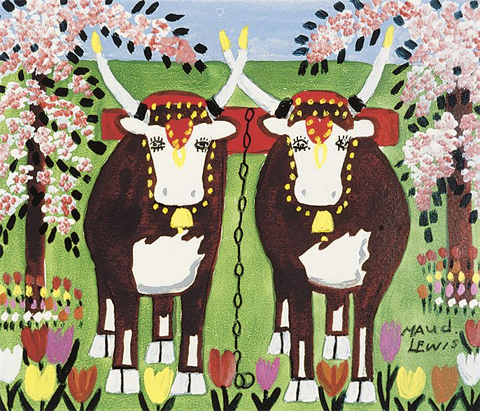 """""""Oxen in Spring"""" by Maud Lewis"""