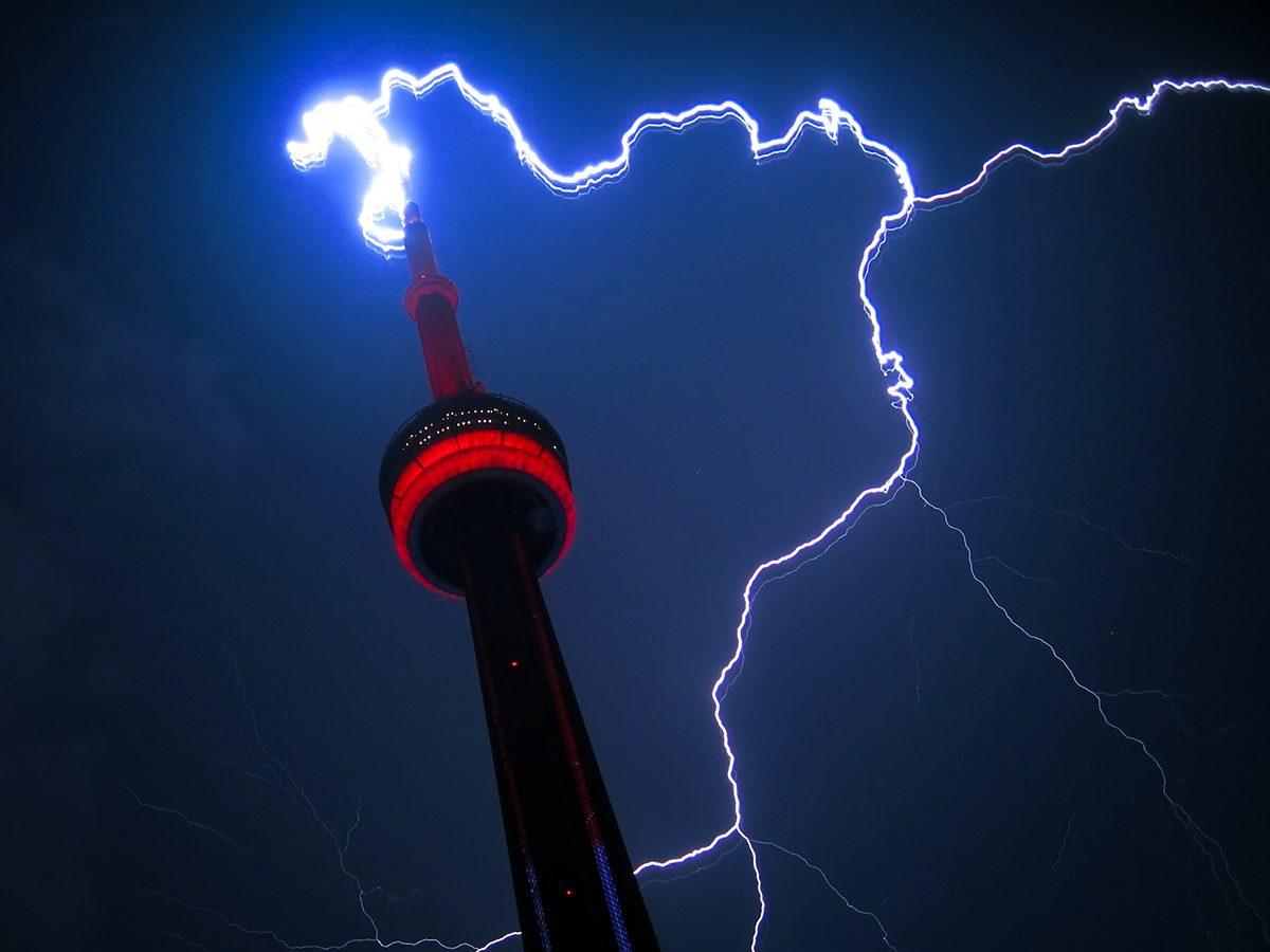 Spring forecast Canada - CN Tower lightning strike