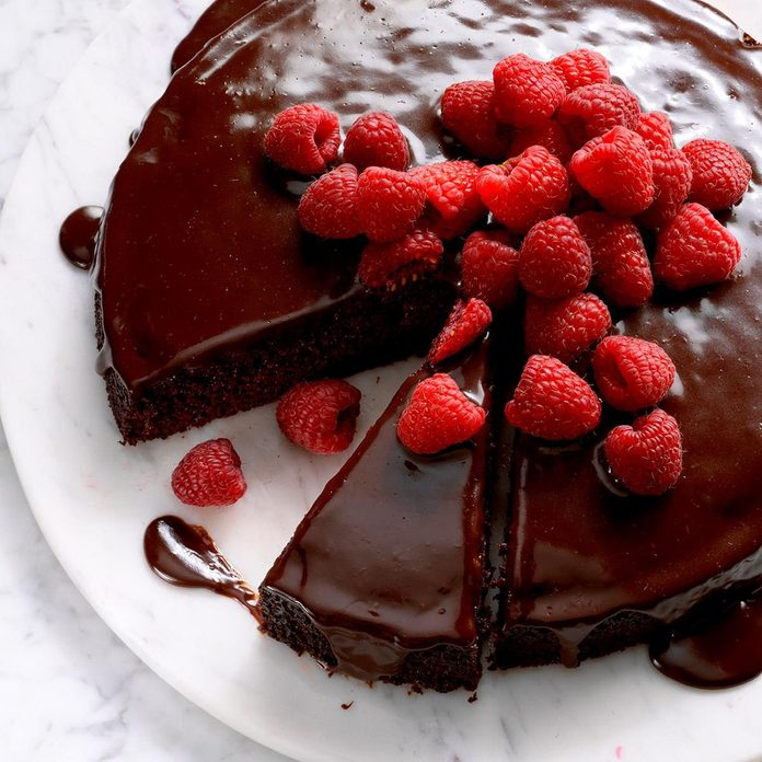Ganache-Topped Chocolate Cake