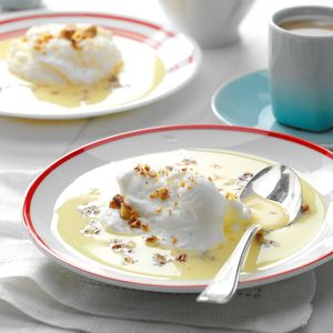 Meringue Snowballs In Custard