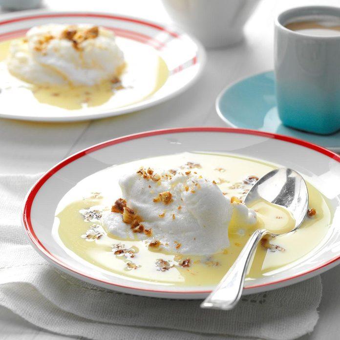 Meringue Snowballs In Custard recipe