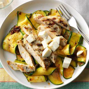 Garlic-Grilled Chicken with Pesto Zucchini Ribbons