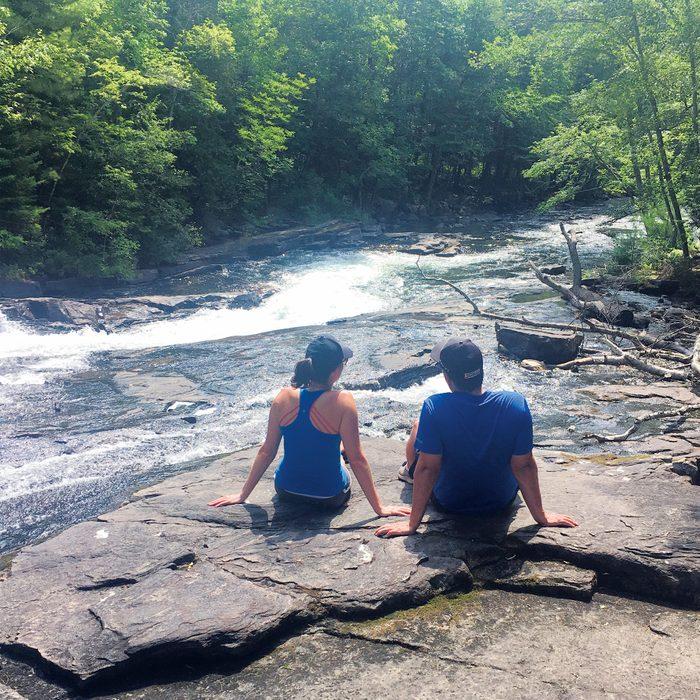 Haliburton Highlands - Sitting on rocks at Buttermilk Falls
