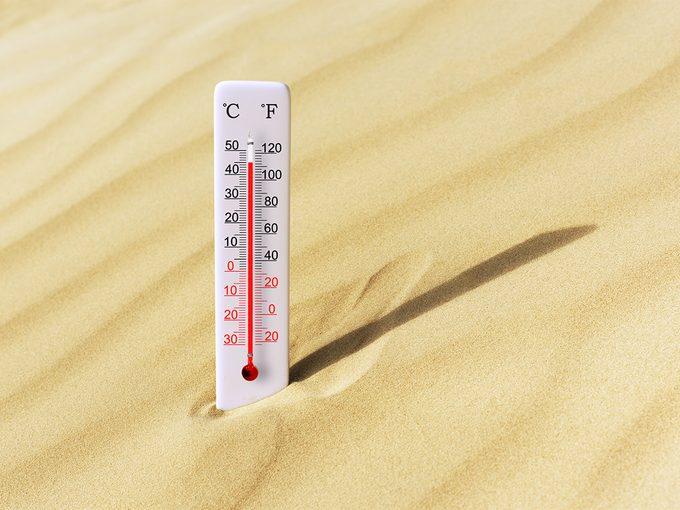 highest temperature in canada - 45.5 degrees Celsius