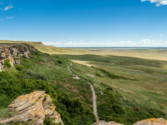 Historical Places in Every Province - Canadian Prairie at Head-Smashed-In Buffalo Jump world heritage site in Southern Alberta, Canada