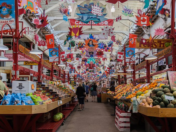Historical Places in Every Province - SAINT JOHN, NEW BRUNSWICK, CANADA - August 4, 2017: Interior of Saint John City Market in Saint John, NB, the oldest continuously operated farmer's market in Canada, with a charter dating from 1785.