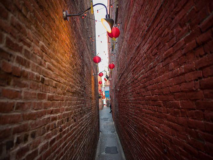 Historical Places Canada Victoria Chinatown - Fan Tan Alley in Victoria, British Columbia.