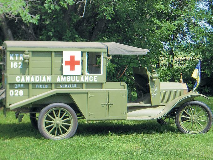 Model T Ambulance - Ambulance sideview with Ken's service number on display.