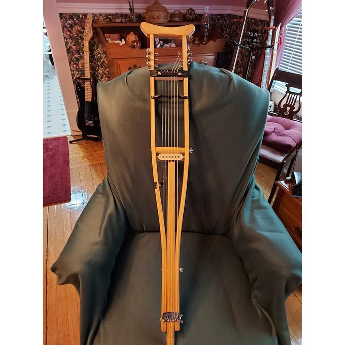 Crutch upcycled as musical instrument