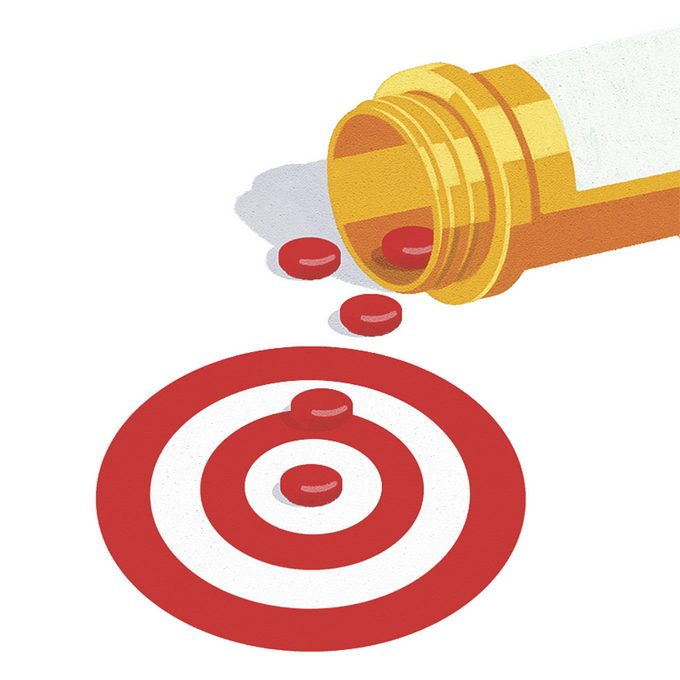 Illustration of red pills and target