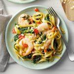 Spinach Shrimp Fettuccine