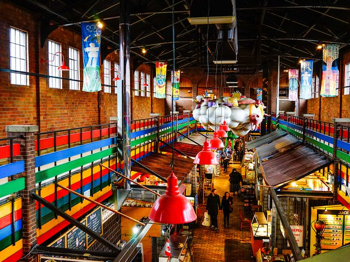 Day trips from Montreal - Interior of ByWard Market in Ottawa, Canada. The market area has been a focal point for French and Irish communities.