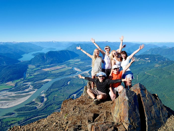 Hiking for beginners - group of influencers on top of Mount Cheam, BC
