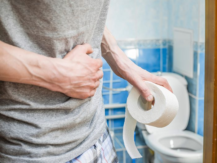 Stomach pain - Abdominal pain in a man in the toilet
