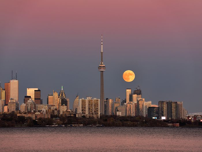Strawberry moon - super moon over downtown Toronto