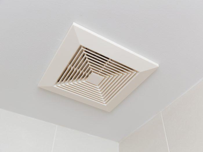 Always turn off bathroom fan before leaving