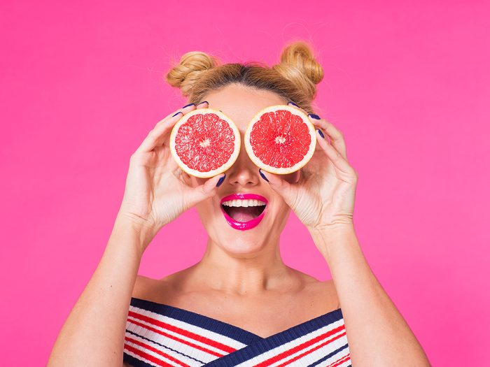 Funny food tweets - woman with silly grapefruit eyes
