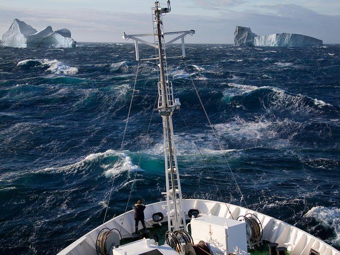 Ocean words - ship rolling in rough seas