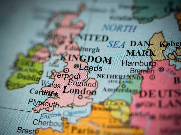 Ocean words - UK on map