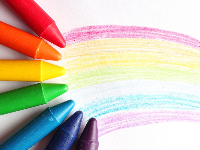 Steel wool uses - multi-coloured crayons