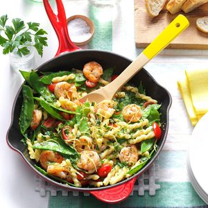 Lemony Shrimp & Snow Pea Pasta